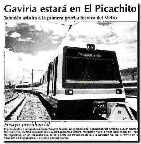 Primera prueba del Metro de Medellín