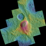 Colores geológicos del monte Ahuna en Ceres. Foto Nasa/Dawn