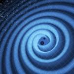Dibujo de las ondas y la fusión de los agujeros. MIT
