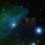 En el recuadro, la estrella con el planeta más joven. Ala izquierda la estrella Nu Scorpii y a la derecha Beta Scorpii. Cortesía Noao