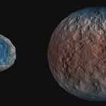 Ceres, derecha, planeta enano, comparado con Vesta, un gran asteroide del cinturón principal. El azul muestra la cantidad de agua. Foto Nasa/Caltech