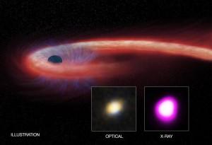 Ilustración del gran evento. CXC/M. WEISS; X-RAY: NASA/CXC/UNH/D. LIN ET AL, OPTICAL: CFHT