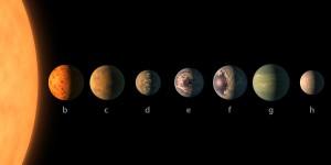 Dibujo de los 7 planetas en Trappist-1. Cortesía Nasa