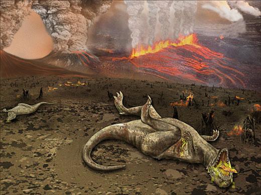 Dibujo de la extinción de los dinosaurios. Cortesía NSF/Zina Deretsky