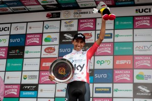 Colombian cyclist Egan Bernal of the Sky Team celebrates on the podiu