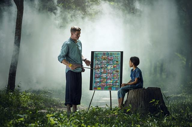 enseñando en el bosque