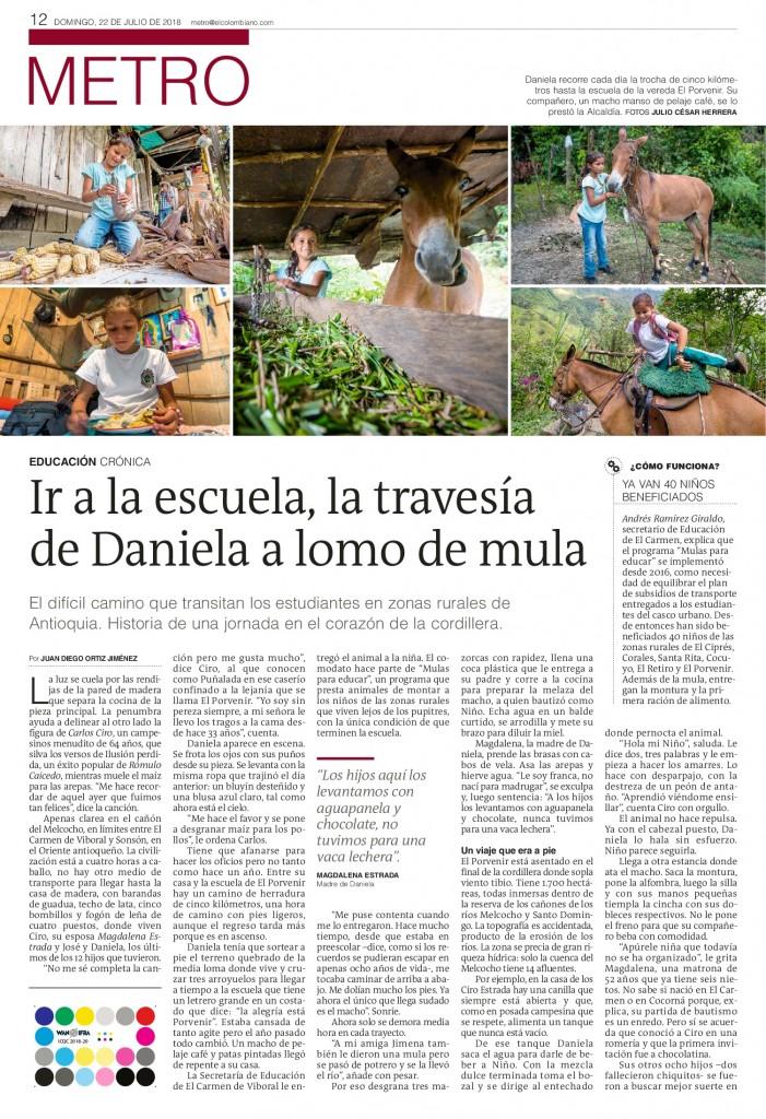 Ir a la escuela, la travesía de Daniela a lomo de mula (1). Julio 22 de 2018, página 12-001