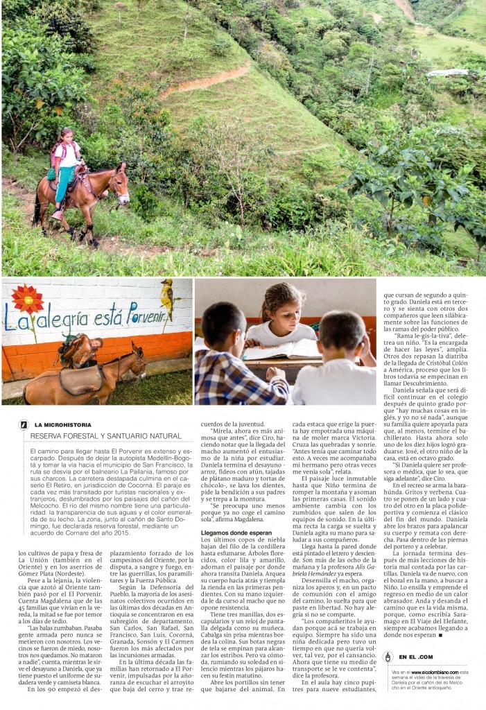 Ir a la escuela, la travesía de Daniela a lomo de mula (2). Julio 22 de 2018, página 13-001