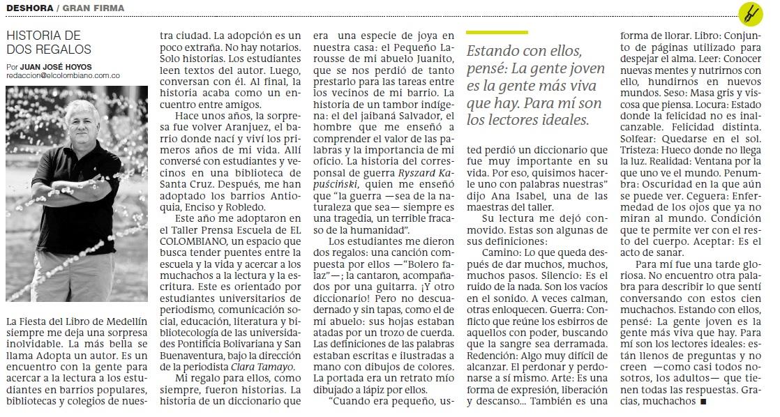 Columna de Juan José Hoyos sobre el encuentro  que tuvo con jóvenes de El Taller Prensa Escuela 2019.