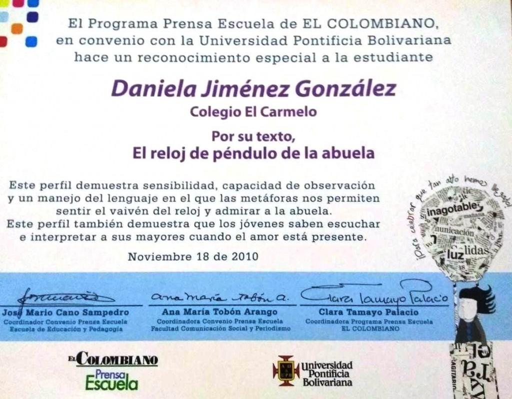 Certificado del Reconocimiento Especial