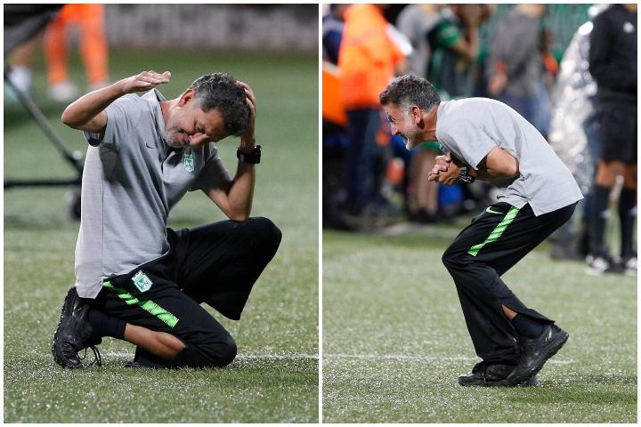 El profesor Juan Carlos Osorio  se mostró muy inquieto y asumió la responsabilidad sobre el empate ante Envigado. Fotos Manuel Saldarriaga.