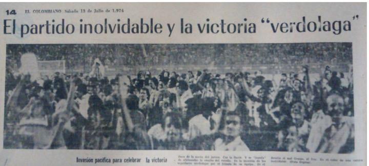 En este ejemplar de EL COLOMBIANO del sábado 13 de julio de 1974 se aprecia la invasión de cancha de la hinchada verdolaga, a pesar de la lluvia, no le importó y se unió a la celebración.