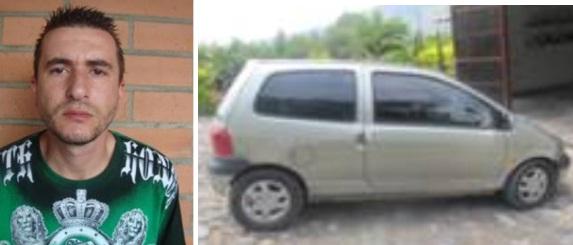 El capturado Gustavo Cadavid, junto al vehículo acondicionado para transportar a las víctimas. Fotos cortesía de la Policía.