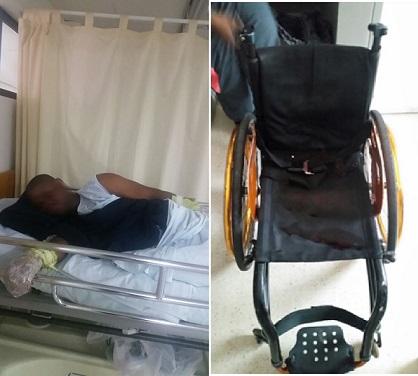Este es Mosquera, cuya herida de bala fue curada en el hospital; al lado, la silla de ruedas desde la cual se enfrentó a la Policía. Cortesía Policía Metropolitana.