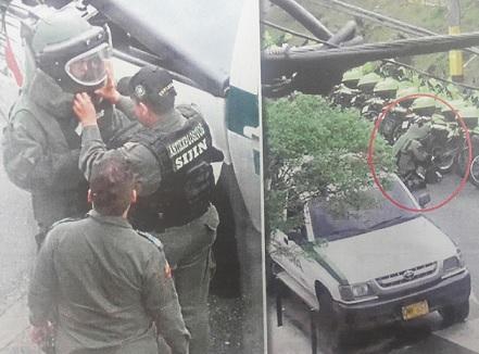 Agentes del Grupo Antiexplosivos de la Sijín desactivaron los artefactos en el Doce de Octubre y Manrique Oriental. Cortesía Periódico Qhubo.