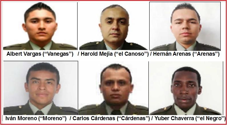 """Estos son los miembros de la Policía Metropolitana del Valle de Aburrá, detenidos por su presunta relación con """"los Chatas"""". Cortesía Fiscalía."""