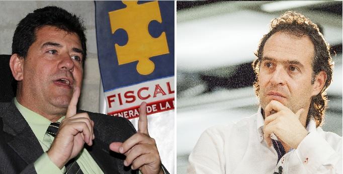 Germán Darío Giraldo, director Seccional de Fiscalías de Medellín, y el alcalde Federico Gutiérrez. Fotos de archivo.