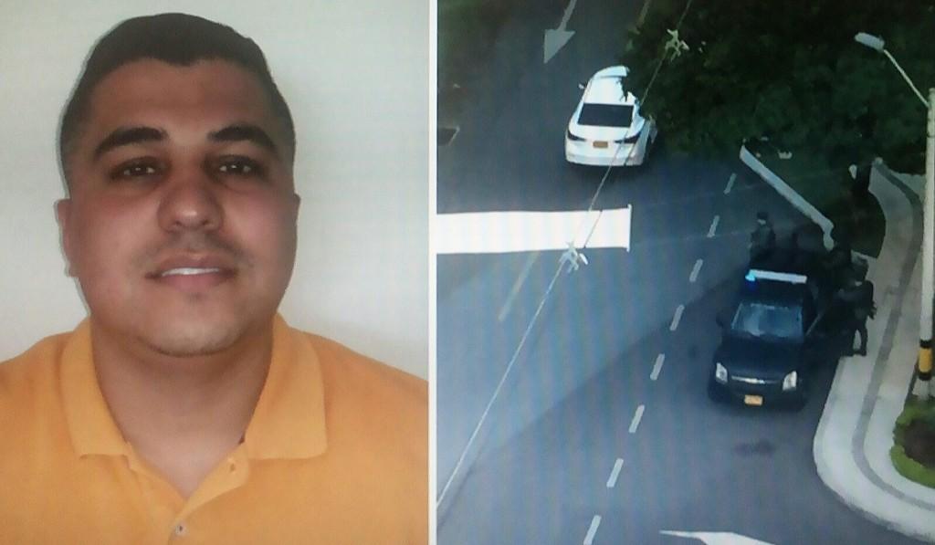 """Carlos Marín Ospina, alias """"Tombolín"""". A su lado, el operativo de allanamiento a la urbanización donde residía. Fotos de cortesía."""