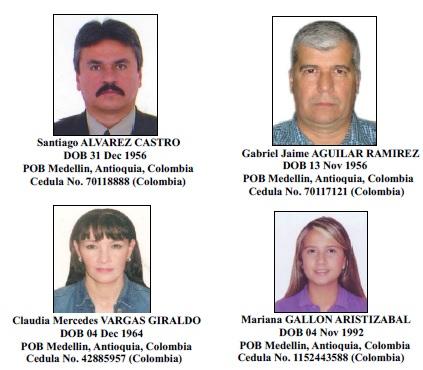 Estas son las cuatro personas relacionadas con el clan Gallón Henao que fueron incluidas también en la  Lista Clinton. Cortesía de la Ofac.