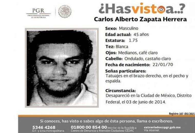 """Así se reportó en México la desaparición del exagente del Gaula y miembro de """"la Oficina"""", Carlos Alberto Zapata, alias """"Camilo Carracas"""". Foto de cortesía."""