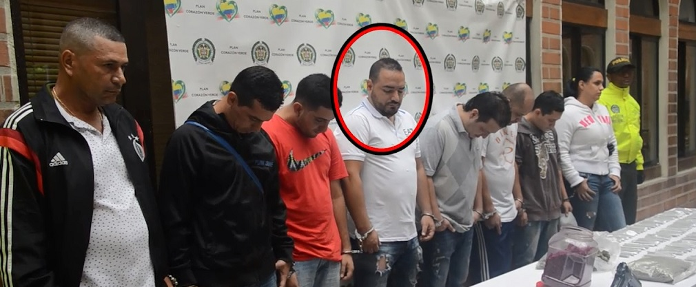 """Estos son los capturados de la Operación Apocalipsis. En el círculo, Diego Valencia Peña, alias """"Diego Rosario"""". Foto cortesía de la Policía."""