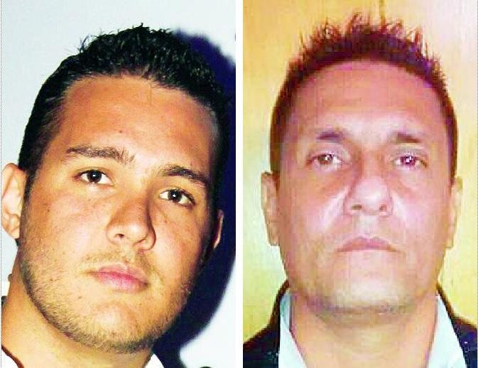 """A la izquierda, Sebastián Murillo (""""Lindolfo""""); a su lado, Fredy Mira (""""Fredy Colas""""), la persona que las autoridades señalan como su exjefe, quien está condenado en Estados Unidos. Fotos de archivo."""