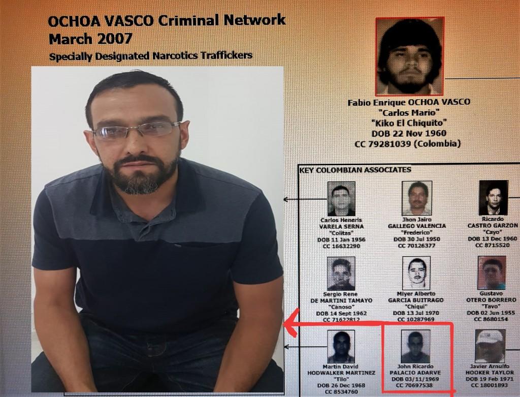 John Ricardo Palacio Adarve apareció en la Lista Clinton en 2007. Al lado izquierda se ve al momento de la captura, con su apariencia actual. Fotos de cortesía y del Departamento del Tesoro de EE.UU.