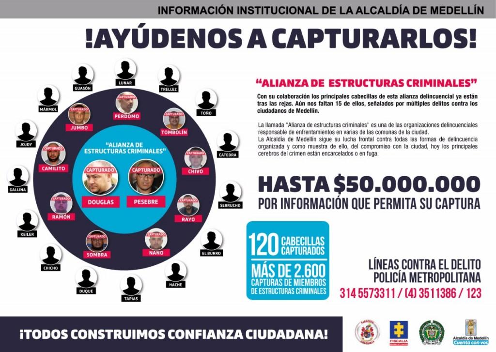"""Este es el aviso que la Alcaldía publicó, ofreciendo recompensas contra miembros de """"la Terraza"""" y """"Robledo"""". Foto de cortesía."""