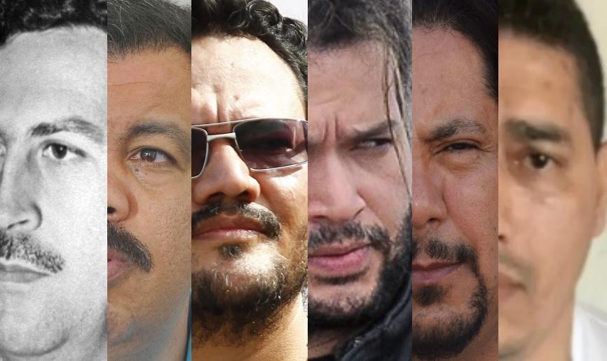 """La jerarquía criminal sobre la totalidad de las bandas del Valle de Aburrá se ha venido reduciendo. En su momento, intentaron gobernarlas Escobar, """"don Berna"""", """"Valenciano"""", """"Sebastián"""", """"Tom"""" y """"Pichi Belén"""". Fotos de archivo."""