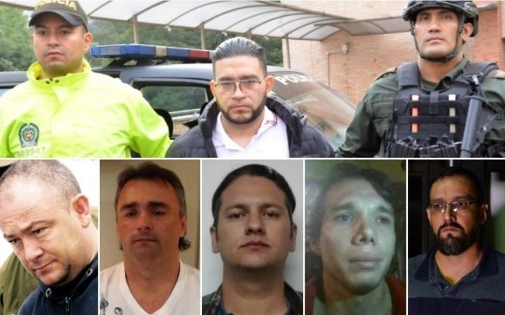 """Arriba, la captura de Mauricio Zapata Orozco (""""Chicho"""") en El Poblado. Abajo, la cúpula de """"la Terraza"""", señalada por la Fiscalía de seguir dirigiendo la banda desde la prisión. De izquierda a derecha: alias """"Douglas"""", """"Pichi Gordo"""", """"Barny"""", """"Yordi"""" y """"Richard"""". Fotos de cortesía de la Policía."""