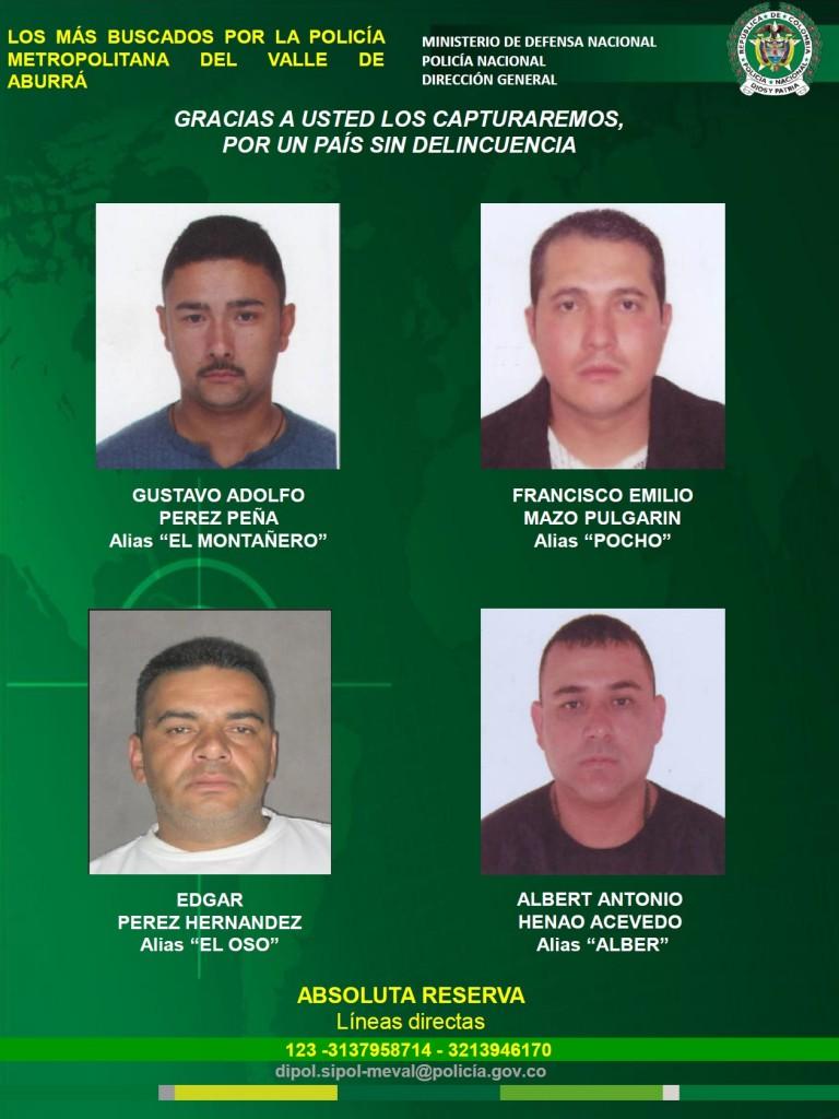 """El nuevo volante incluye a """"el Montañero"""" y a otros cabecillas de las bandas """"Pachelly"""" y """"Niquía Camacol"""". Foto cortesía de la Policía Metropolitana."""