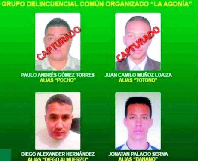 """Del cartel de los más buscados de """"la Agonía"""" falta por capturar a """"Diego Almuerzos"""" y a """"Banano"""".  Cortesía de la Policía."""