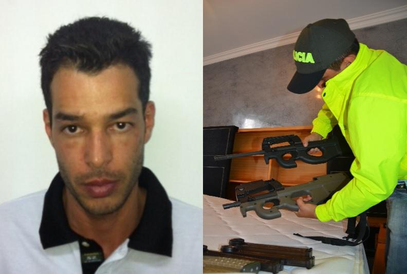 """En un allanamiento a un apartamento de """"Frank"""" en Envigado (2012), la Policía decomisó estos fusiles FN Herstal de fabricación belga. Fotos de archivo de la Policía."""