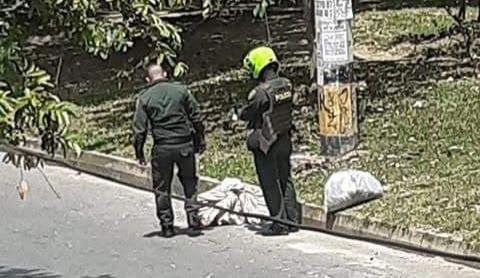 Así encontraron un cadáver masculino sin identificar, en un separador vial del barrio El Trapiche, el 27 de abril de 2020. Cortesía de Guardianes Antioquia.