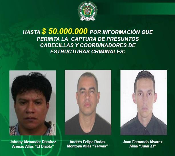 Este es el nuevo cartel de los delincuentes más buscados del municipio de Bello. Foto cortesía de la Policía.