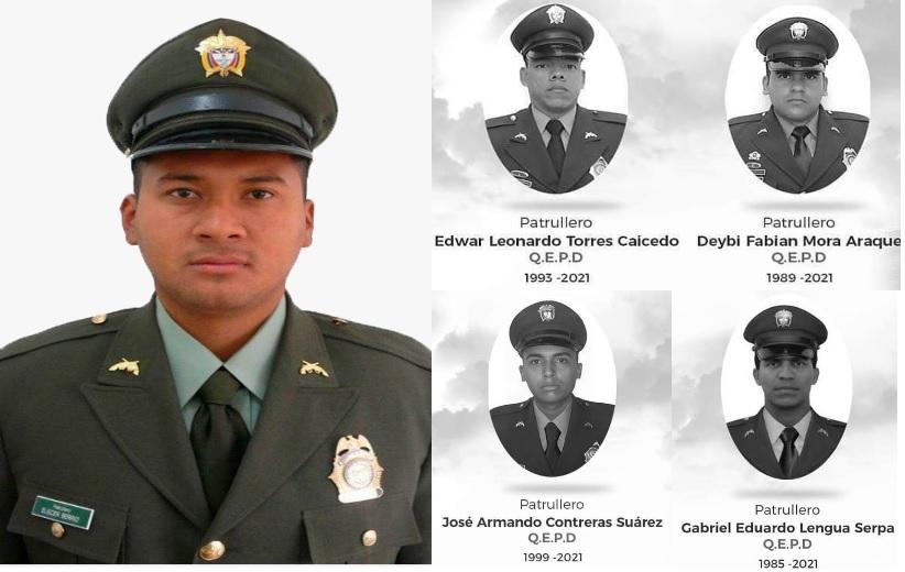 En primer plano, el patrullero Wilder Romo Durango, asesinado en Medellín. Las muertes ocurrieron entre el 5 y el 7 de mayo en distintos municipios de Colombia. Foto: cortesia.