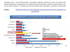 Colombia tiene  nueve (9) Acuerdos Comerciales