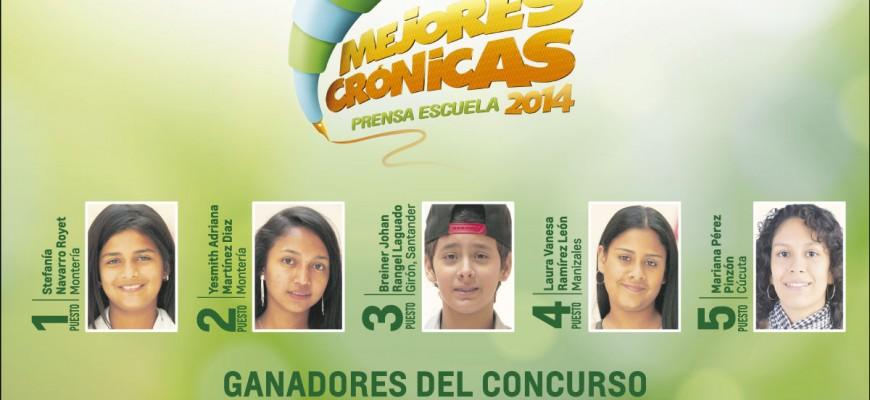 Ganadores del concurso Mejores Crónicas Prensa Escuela 2014